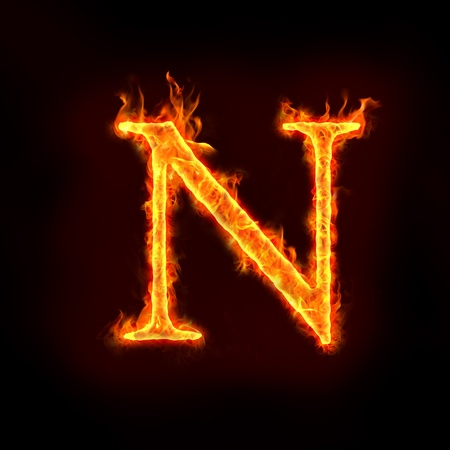 b n: fire alphabets in flame, letter N