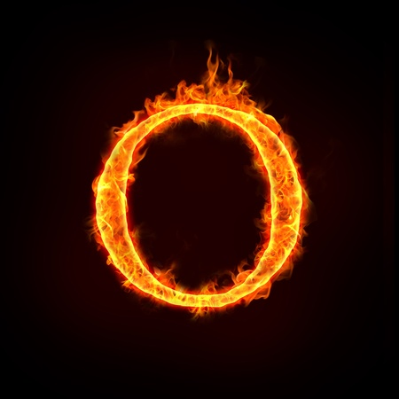 fire alphabets in flame, letter O Stock Photo
