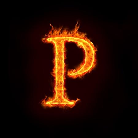 火災の炎、P の文字のアルファベット