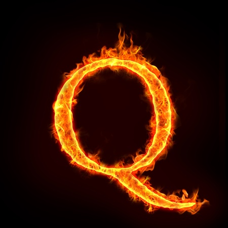 burning letter: fire alphabets in flame, letter Q