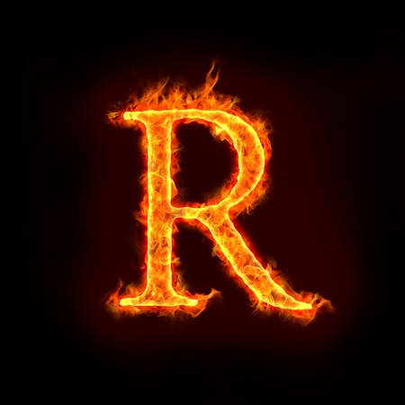 metal letter: fire alphabets in flame, letter R