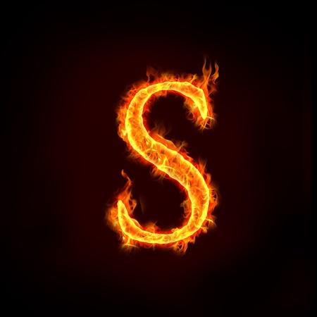 lettre s: feu alphabets en flammes, lettre s
