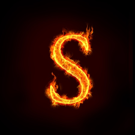 burning letter: fire alphabets in flame, letter S