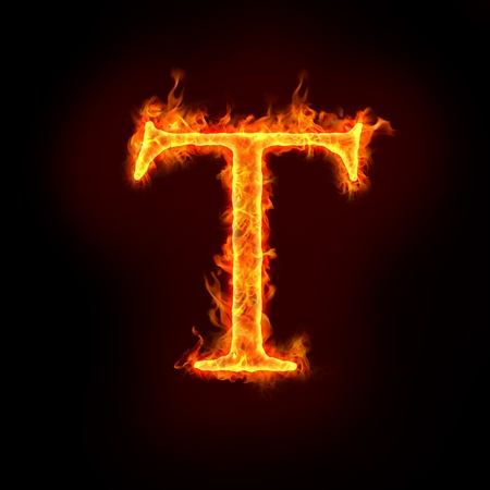 fire font: fire alphabets in flame, letter T