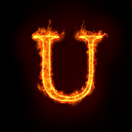 flame alphabet: fire alphabets in flame, letter U Stock Photo