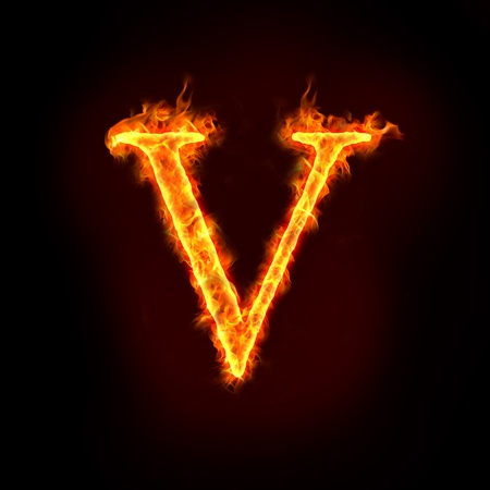 burning letter: fire alphabets in flame, letter V