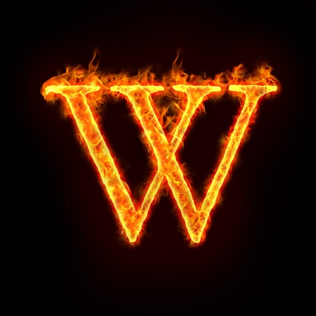 burning letter: fire alphabets in flame, letter W Stock Photo