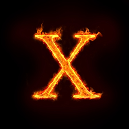metal letter: fire alphabets in flame, letter X