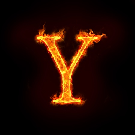 fiery: fire alphabets in flame, letter Y
