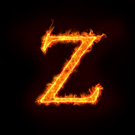 metal alphabet: fire alphabets in flame, letter Z