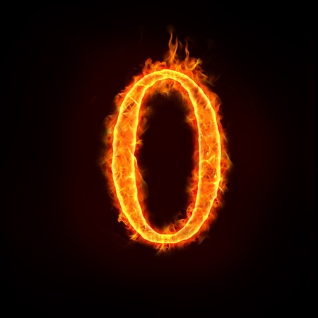 a series of fire numbers in flame, or zero