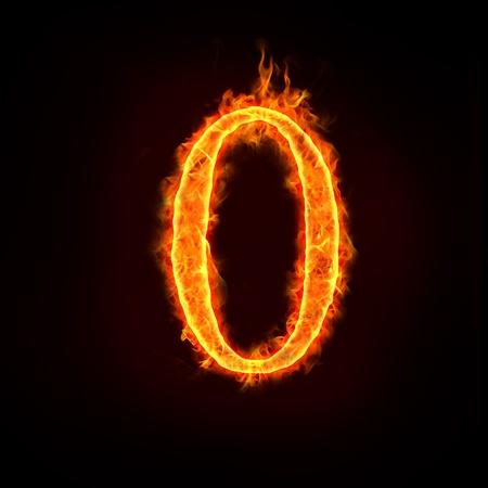 numbers abstract: una serie de n�meros de fuego en llamas, 0 o cero