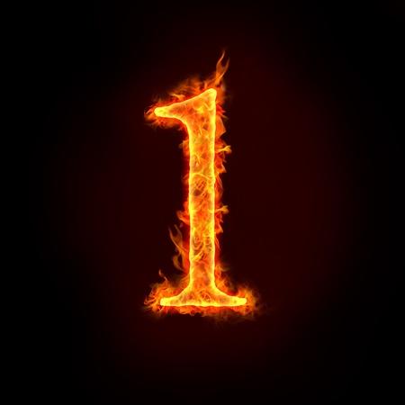 numero uno: una serie de n�meros de fuego en llamas, 1 o una