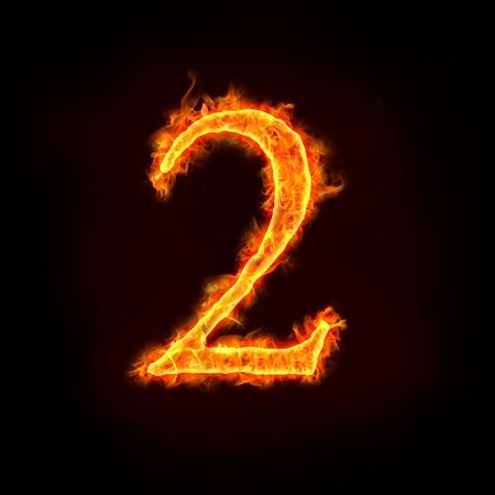 countdown: a series of fire numbers in flame, 2 or two