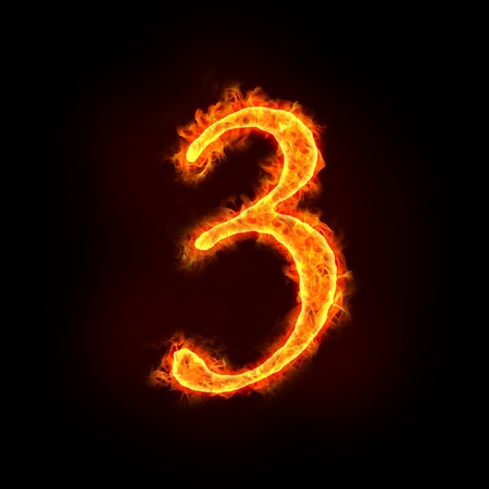 numbers abstract: a series of fire numbers in flame, 3 or three. Stock Photo