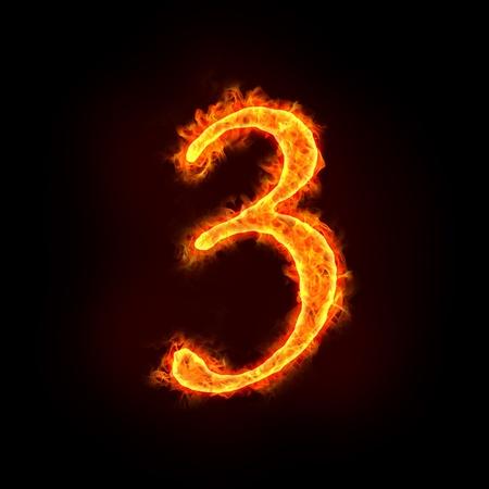numbers abstract: una serie de n�meros de fuego en llamas, tres o 3.