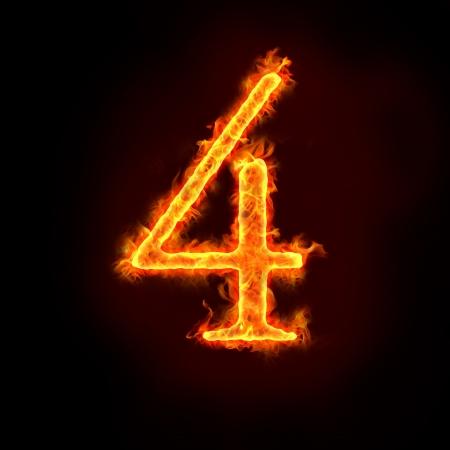 numbers abstract: una serie de n�meros de fuego en llamas, 4 o cuatro. Foto de archivo