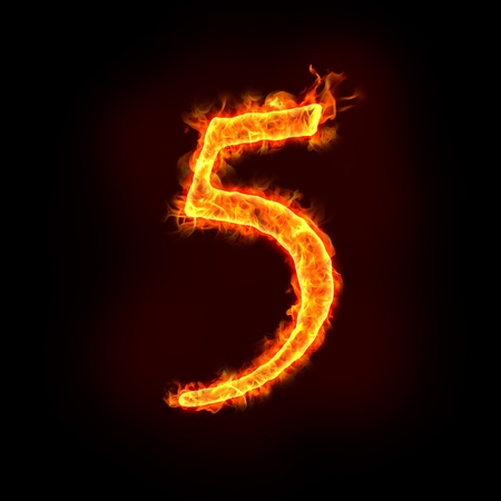five elements: a series of fire numbers in flame, 5 or five. Stock Photo
