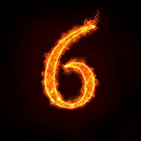 a series of fire numbers in flame, 6 or six.