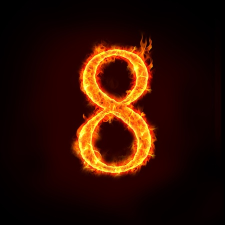 a series of fire numbers in flame, 8 or eight. Imagens