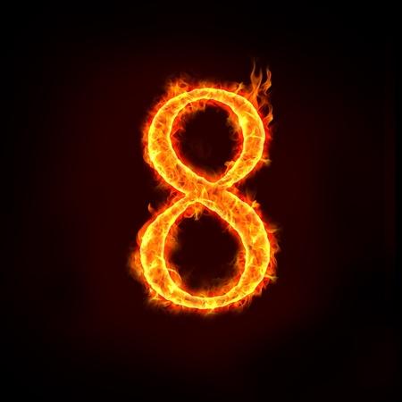 les chiffres: une série de chiffres feu dans la flamme, 8 ou huit.