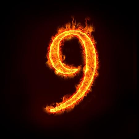numero nueve: una serie de números de fuego en llamas, 9 o 9. Foto de archivo