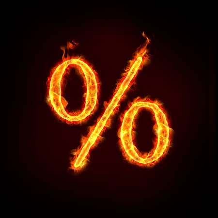percentages: a burning percentage sign for sale price concepts.