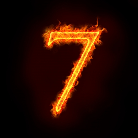 a series of fire numbers in flame, 7 or seven.