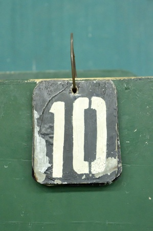 number ten: number tags plate for badminton games scores