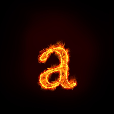 fire alphabets in flame, small letter a photo