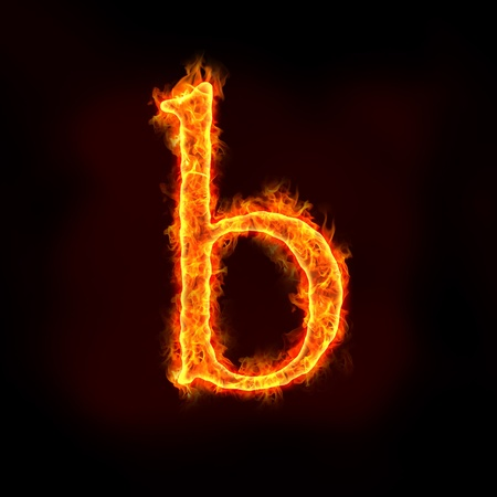burning letter: fire alphabets in flame, small letter b