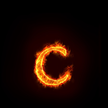 burning letter: fire alphabets in flame, small letter c