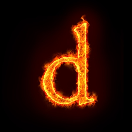 burning letter: fire alphabets in flame, small letter d