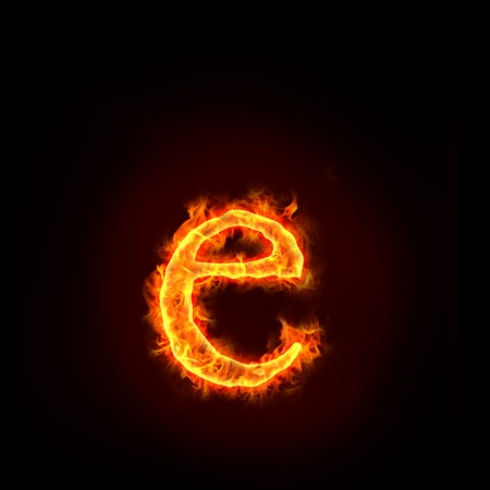 flame alphabet: fire alphabets in flame, small letter e