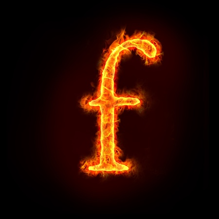 burning letter: fire alphabets in flame, small letter f Stock Photo