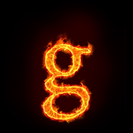 fire font: fire alphabets in flame, small letter g