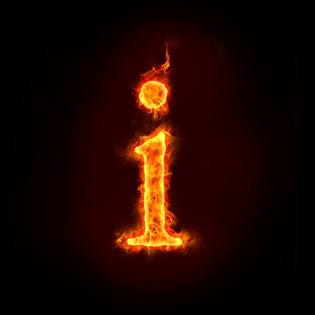fire alphabet: fire alphabets in flame, small letter i