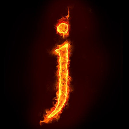 letter j: fire alphabets in flame, small letter j Stock Photo