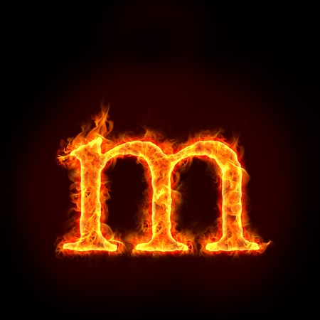 burning letter: fire alphabets in flame, small letter m