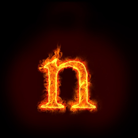 fire alphabet: fire alphabets in flame, small letter n Stock Photo