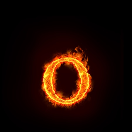 fire symbol: fire alphabets in flame, small letter o