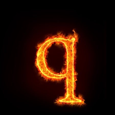 burning letter: fire alphabets in flame, small letter q Stock Photo