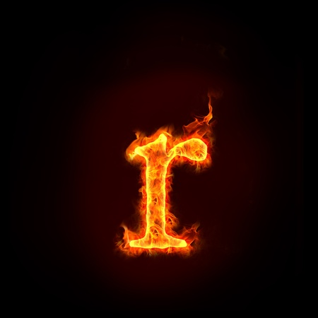 fire alphabets in flame, small letter r Stock Photo - 10389695