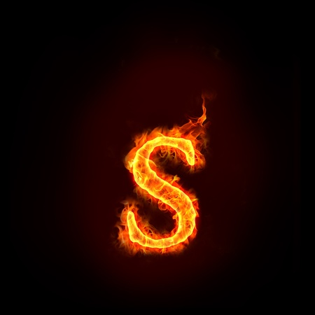 burning letter: fire alphabets in flame, small letter s