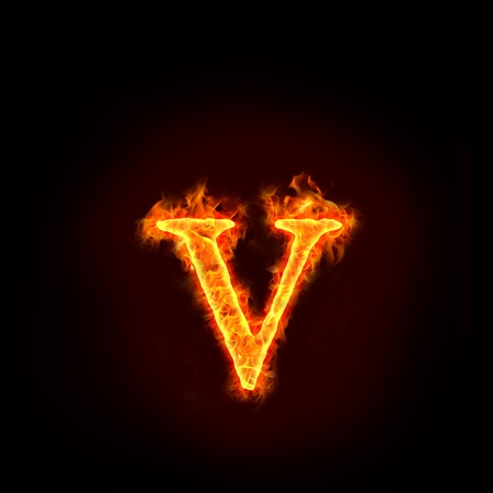 burning letter: fire alphabets in flame, small letter v