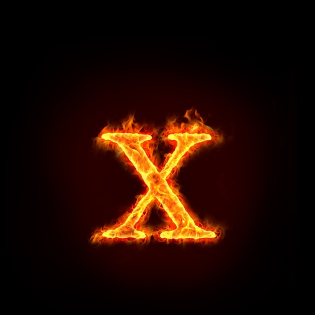 burning letter: fire alphabets in flame, small letter x