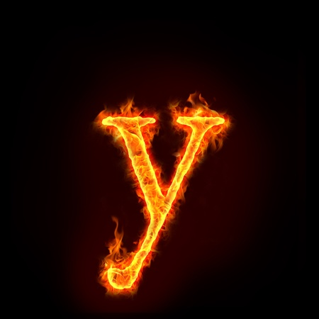 burning letter: fire alphabets in flame, small letter y