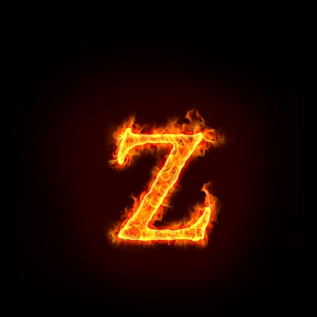 burning alphabet: fire alphabets in flame, small letter z