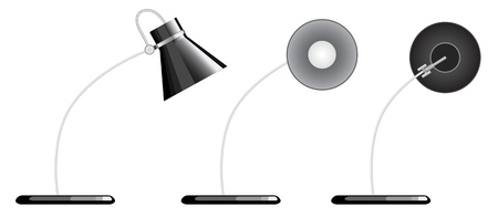 sideway: isolated desk lamp, facing different direction, down, and sideway.