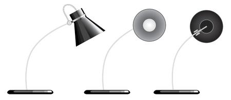 isolierte Schreibtischlampe, mit Blick auf andere Richtung, nach unten, und sideway.  Vektorgrafik